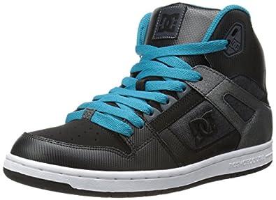 DC Women's Rebound High Skate Shoe,Black/Aqua,5 B US