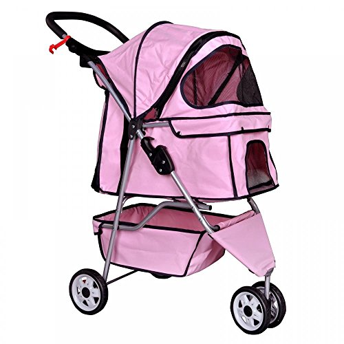 New Pink Pet Stroller Cat Dog Cage 3 Wheels Stroller Travel Folding Carrier T13