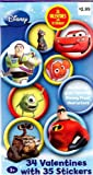Disney Pixar Characters Valentines Cards for Kids - Package of 34 with 35 Stickers