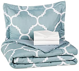 AmazonBasics 5-Piece Bed-In-A-Bag - Twin/Twin XL, Dusty Blue Trellis