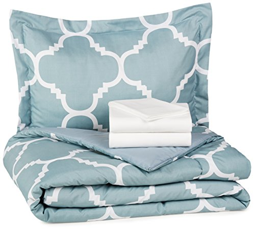 Find Discount AmazonBasics 5-Piece Bed-In-A-Bag - Twin/Twin XL, Dusty Blue Trellis
