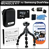 Accessory Kit For The Samsung DualView TL225 TL90 ST600 Digital Camera Includes 4GB Micro SD Memory Card Reader SLB-07A Battery Hard Shell Case + Gripster Mini Tripod + More