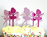 Hot Pink and Pink Glitter Ballerina Cupcake Toppers, Ballet, Dancers, Tulle- Quality (Set of 24 Ballerinas)