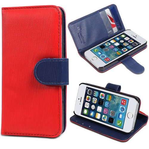 iPhone SE Case, GreatShield LOLLY Series Leather Wallet Case with Stand for Apple iPhone SE (Red & Navy Blue)