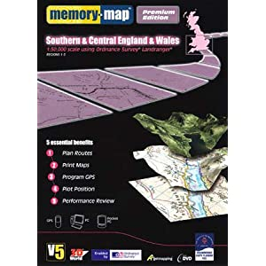 Memory-Map Version 5 Premium Edition - OS Maps 1:50K - GB South