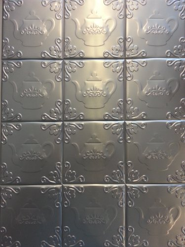Self Adhesive Decorative Silver Embossed Tea Kettle Design Tin Tiles 4 x 4 (14 tiles)