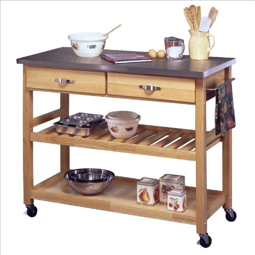 Home Styles Furniture Stainless Steel Kitchen Cart in Natural Finish