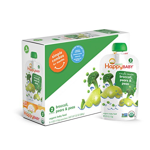 Happy Baby Organic Stage 2 Baby Food, Simple Combos, Broccoli, Pears & Peas, 4 Ounce, 8 count (Pack of 2) (Ellas Baby Food Pouches Stage 2 compare prices)