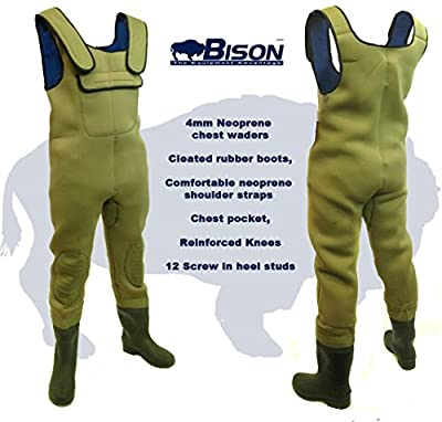 Bison 4mm Neoprene Chest Waders All Sizes With Free Mobile Phone Dry Bag & Studs from bison