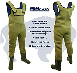 NEW BISON 4MM NEOPRENE CHEST WADERS SIZE 8