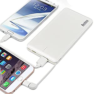 Bestoss 10000mAh Portable Power Bank with Built-in Lightning and Micro USB Cable - White