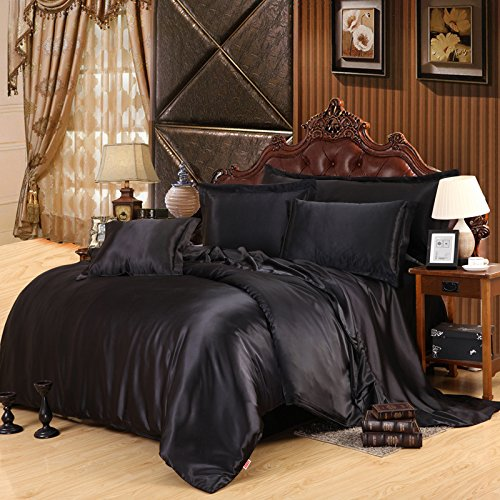 Black Silk Bedding Set Duvet Cover Silk Pillowcase Silk Sheet Luxury Bedding, King Size