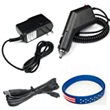 Garmin GPS Nuvi 255w Accessory Bundle - Car Charger + Home Travel AC Charger + USB Data Cable + Free Stars Stripes Silicone Wristband