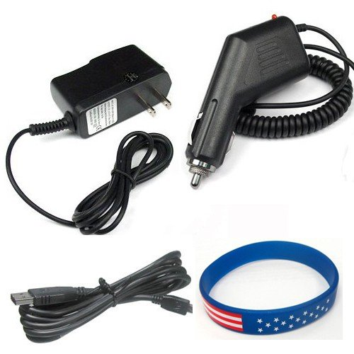 Garmin GPS Nuvi 265wt Accessory Bundle - Car Charger + Home Travel AC Charger + USB Data Cable + Free Stars Stripes Silicone Wristband