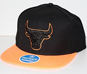Chicago Bulls NBA Adidas Neon Orange and Black Snapback Hat by adidas