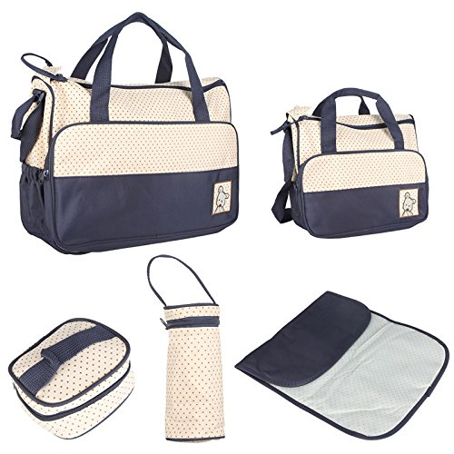 Set Of 5Pcs Multi Function Baby Diaper Nappy Bag Mummy Changing Set Handbag front-1078944