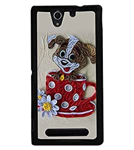 Fuson Premium Cute Puppy Metal Printed with Hard Plastic Back Case Cover for Sony Xperia C3