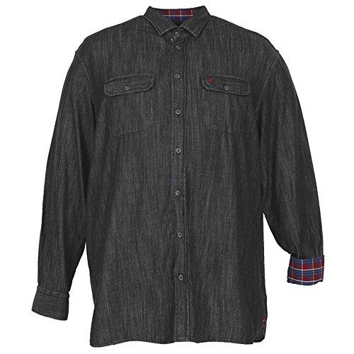 Camicia taglie forti uomo manica lunga Maxfort APPIO chambray - Blu scuro, 9XL