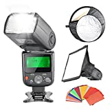 Neewer Professional E-TTL Flash Reflector Kit for Canon Rebel T5i T4i T3i T3 T2i T1i SL1, EOS 700D 650D 600D 1100D 550D 500D 100D 6D, 1Ds Mark III, 1Ds Mark II, 5D Mark III, 5D Mark II, 1D Mark IV, 1D Mark III and All Other Canon DSLR Cameras, includes: (1)NW670 E-TTL Speedlite Flash with LCD Display for Canon, (1)6x8