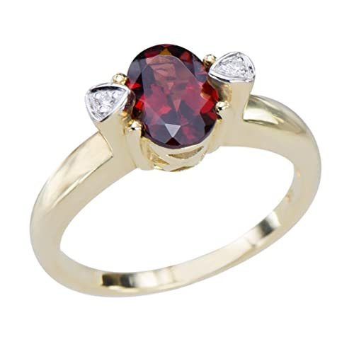 GemsLovers 9K Yellow Gold Genuine Red Garnet Womens Ring - January Birthstone