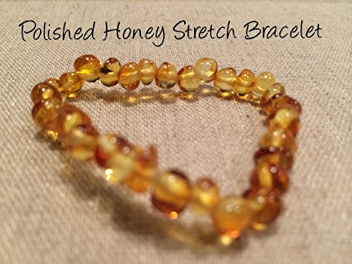 Baltic Amber Teething Bracelet For Babies And Toddlers Polished Honey Stretch Certified Authentic. Anti-Inflammatory, Reduction Of Drooling, Red Cheeks, Teething Pain. Highest Quality front-851610