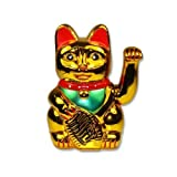 Happy Sales HSFC-WCG01 Battery Operated Maneki Neko Lucky Fortune Gold Cat Waving Arm