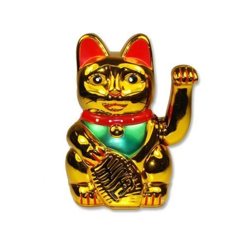 Battery Operated Maneki Neko Lucky Fortune Cat Waving Arm Gold