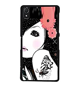 Fuson Premium 2D Back Case Cover Girl with Butterfly Tatoo With Brown Background Degined For Sony Xperia Z2::Sony Xperia Z2 L50W D6502 D6503