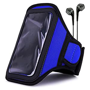 Vangoddy Blue Mobile Armband Pouch + Black Handsfree Microphone Headphones