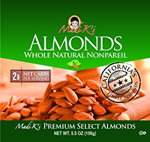 Madi K's Whole Natural Almonds, 5.5-Ounce Pouches (Pack of 12) from Madi K's