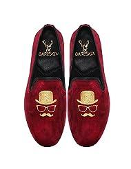 Bareskin Gentlemen Special Mens Handmade Maroon Velvet Slipon With Embroidery - Limited Edition(Made On Order)