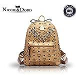 Nicole & Doris 2016 neue kleine orange Mini-Nieten Rucksack Umhängetasche Rucksack Dame / Frauen / weibliche Reisetasche(Khaki)