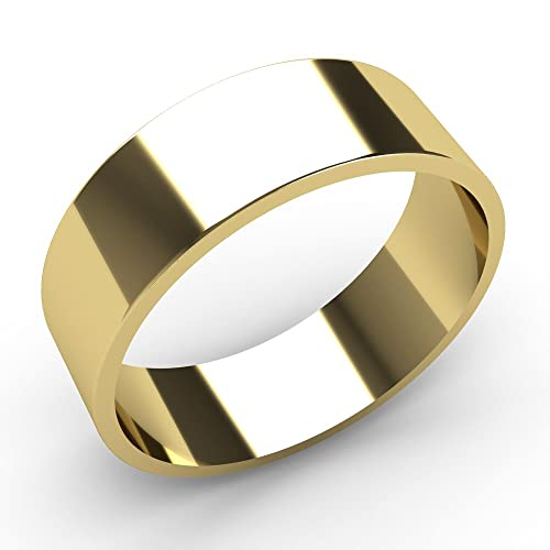 9ct Yellow Gold Wedding rings 6mm Width Flat Shaped Band Lightweight.