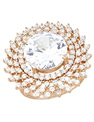 Pink Gold Plated Pure 925 Sterling Silver Simulated Diamond Halo Ring