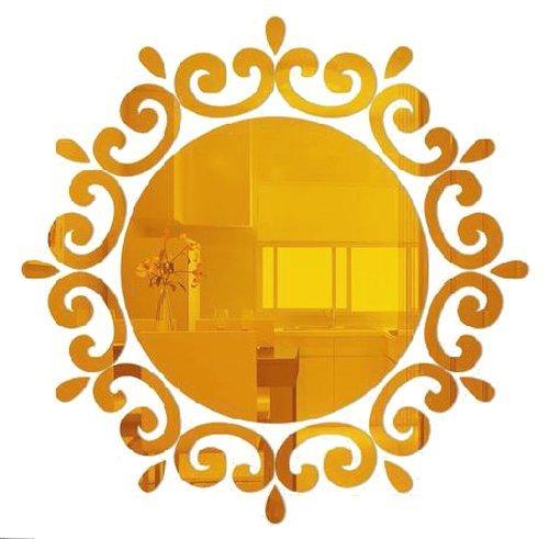 ウォール ステッカー ミラー シール 鏡 剥がせる 太陽 エキゾチック (ゴールド)
