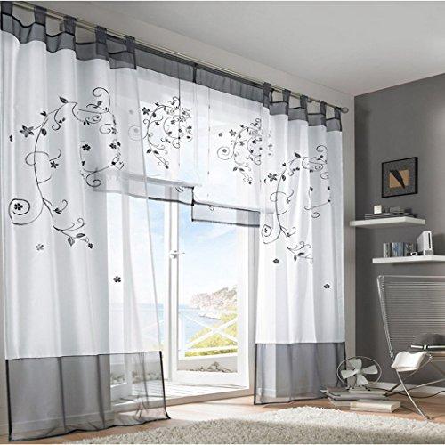 Souarts-Grau-Stickerei-Transparent-Gardine-Vorhang-Schlaufenschal-Deko-fr-Wohnzimmer-Schlafzimmer-Studierzimmer-140cmx245cm-Nur-Ein-Schlaufenschal-Ohne-Raffgardinen