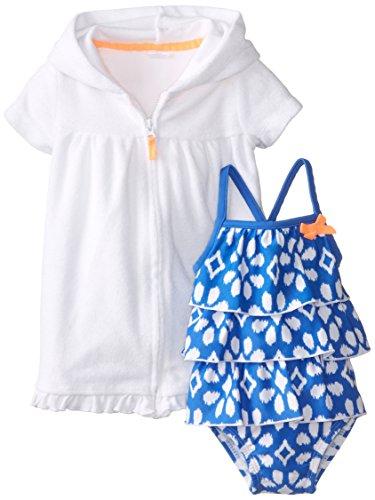 Carter'S Baby Girls' 2 Piece Ruffled Swim Set (Baby) - Blue/White - 6 Months front-1001566