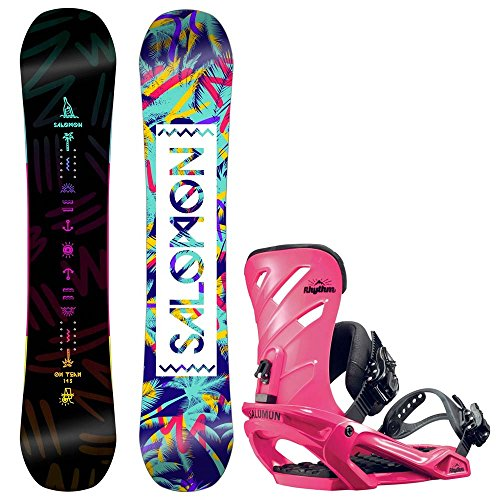 Damen Snowboard Set Salomon Oh Yeah 143 + Rhythm Pink 2017 Snowboard Set