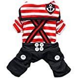 Handsome Nautical Dog Jumpsuit for Dog Shirt Dog Costumes Cozy Dog Clothes Free Shipping,Red,S