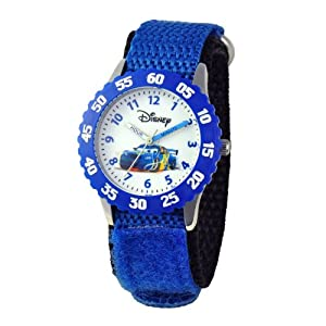 Disney Kids' W000369 Cars Stainless Steel Time Teacher Blue Bezel Blue Velcro Strap Watch