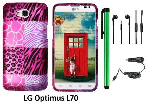 Lg Optimus L70 (Ms323) Premium Pretty Design Protector Hard Cover Case + Car Charger + 3.5Mm Stereo Earphones + 1 Of New Assorted Color Metal Stylus Touch Screen Pen (Pink Exotic Skins : Leopard & Zebra & Block)