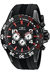 Invicta Men's 20376SYB Aviator Analog Display Swiss Quartz Black Watch