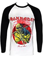 Iron Maiden Piece Of Mind Official Mens New White Baseball T Shirt