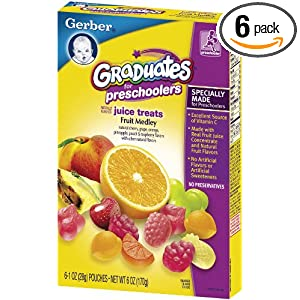 Gerber Graduates Juice Treats, Fruit Medley, 6-Ounce Pouches (Pack of 6)