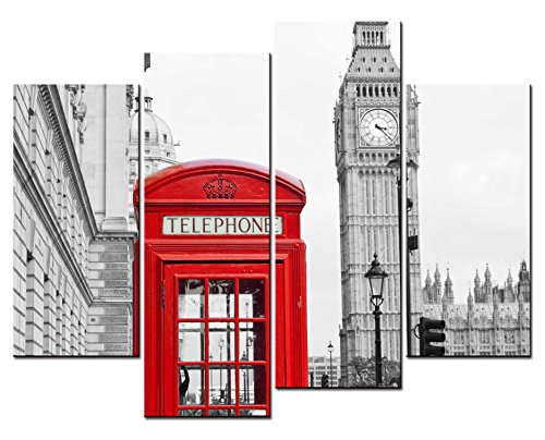 SmartWallArt® - City Landscape Paintings Wall Art Red Telephone Booth and Big Ben London 4 Panel Picture Print on Canvas for Modern Home Decoration