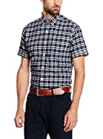 Cortefiel Camisa Hombre Oxford Cuadro Mc T-Relax (Azul Oscuro)