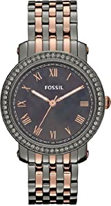 Women Watch Fossil ES3115 Two Tone Stainless Steel Case and Bracelet Black Dial