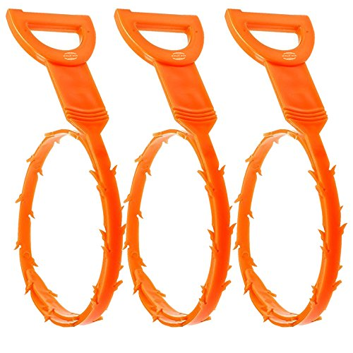 3 Pieces of Plastic Top Quality 52 CM Flexible Snake Drain Hair Unclogger Remover Cleaning Tool with Hook in Orange