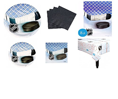 NHL 'Ice Time' Hockey Party Pack (61pc) for 8 Guests Tableware/partysupplies/tablecloth/napkins
