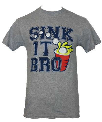 "Beer Pong Mens T-Shirt - ""Sink It Bro"" Distressed Splashing Cup Image (Extra Large) Heather Gray front-251178"